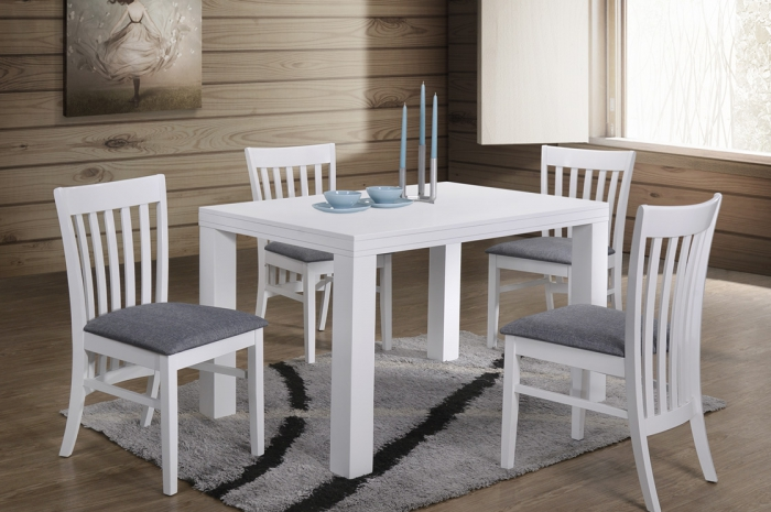 Aston 1+4 Virginia Table 800 x 1200mm White - Dining Set - Golden Tech Furniture Industries Sdn Bhd