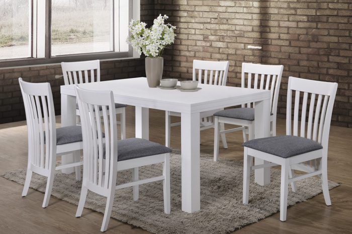 Aston 1+6 Virginia Table 900 x 1500mm White - Dining Set - Golden Tech Furniture Industries Sdn Bhd