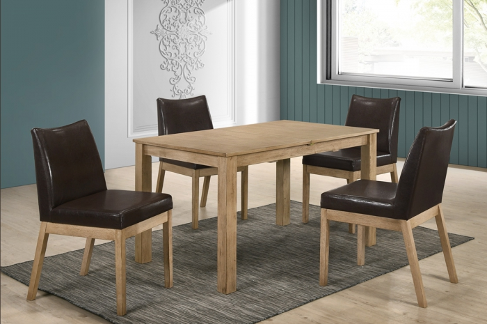 Jerry 1+4+1 Mebel Ext Table 900 x 1500 + 400mm - Dining Set - Golden Tech Furniture Industries Sdn Bhd