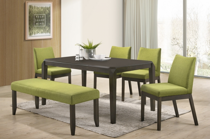Jerry 1+4 Mebel Ext Table 800 x 1200 + 400mm - Dining Set - Golden Tech Furniture Industries Sdn Bhd