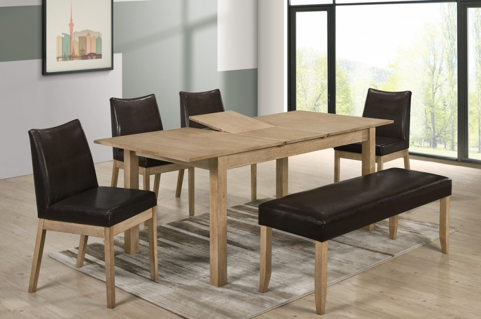 Jerry 1+4+1 Kasia Table 900 x 1500 & Jerry Bench - Dining Set - Golden Tech Furniture Industries Sdn Bhd