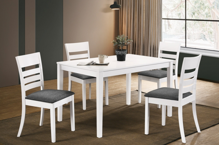 Karen 1+4 Aston Table 800 x 1200mm White - Dining Set - Golden Tech Furniture Industries Sdn Bhd