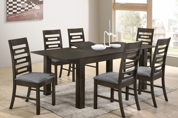 Latina 1+6 Sino Ext. Table 900 x 1500+400 - Dining Set - Golden Tech Furniture Industries Sdn Bhd
