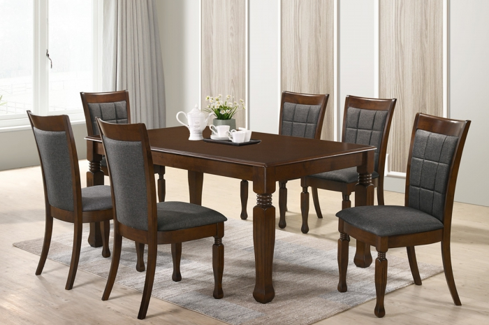 Loris 1+6 Dining Set - Dining Set - Golden Tech Furniture Industries Sdn Bhd
