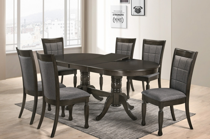 Loris 1+6 v Elise Oval Ext.Table - Dining Set - Golden Tech Furniture Industries Sdn Bhd
