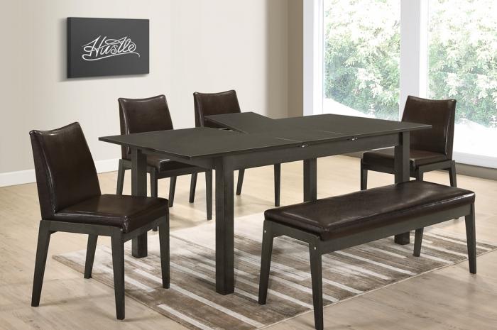 Mario 1+4+1 Riko Bench v Mebel Ext.Table - Dining Set - Golden Tech Furniture Industries Sdn Bhd
