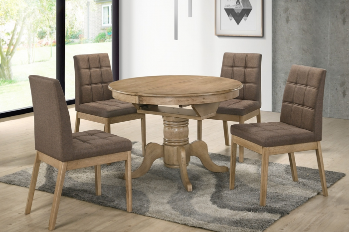 Rano 1+4 Lily Round Ext Table 1050 x 1050 + 450mm - Dining Set - Golden Tech Furniture Industries Sdn Bhd