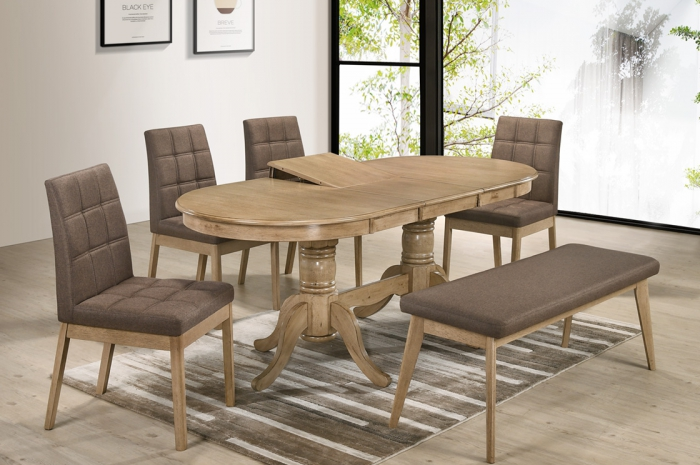 Rano 1+4+1 Elise Oval Ext Table 900 x 1500 x 400mm - Dining Set - Golden Tech Furniture Industries Sdn Bhd