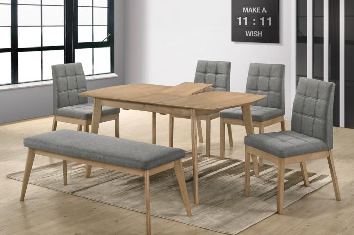 Rano 1+4+1 Yutu Ext.Table 800 x 1200+300 & Yutu Bench - Dining Set - Golden Tech Furniture Industries Sdn Bhd