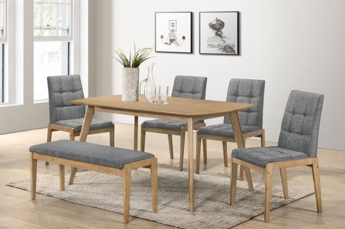 Riko-GL 1+4+1 Yutu Table 900 x 1500 - Dining Set - Golden Tech Furniture Industries Sdn Bhd
