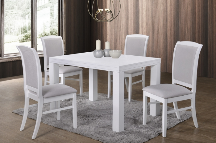 Sano 1+4 Virginia Table 800 x 1200mm White - Dining Set - Golden Tech Furniture Industries Sdn Bhd