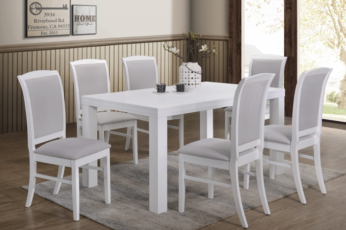 Sano 1+6 Virginia Table 900 x 1500mm White - Dining Set - Golden Tech Furniture Industries Sdn Bhd