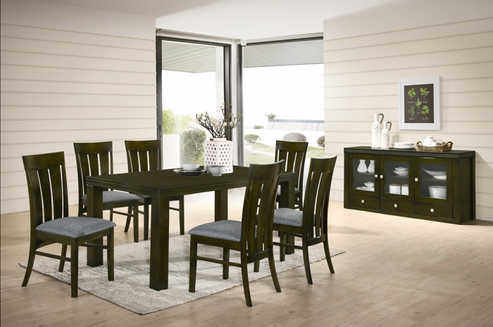 Simon 1+6 Virginia Table with Ramos SideBoard - Dining Set - Golden Tech Furniture Industries Sdn Bhd