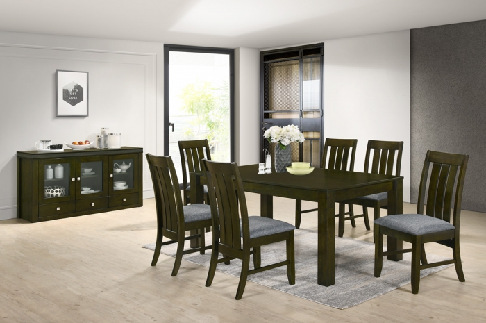 Targa 1+6 with Ramos SideBoard - Dining Set - Golden Tech Furniture Industries Sdn Bhd