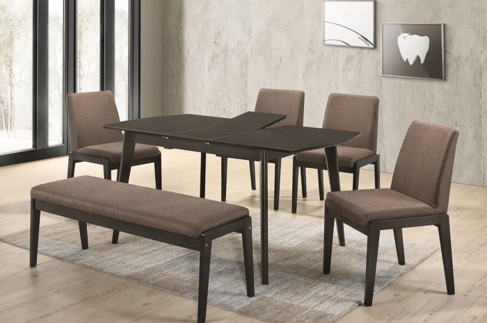 Thomas 1+4+1 Riko Bench v Yutu Ext.Table - Dining Set - Golden Tech Furniture Industries Sdn Bhd