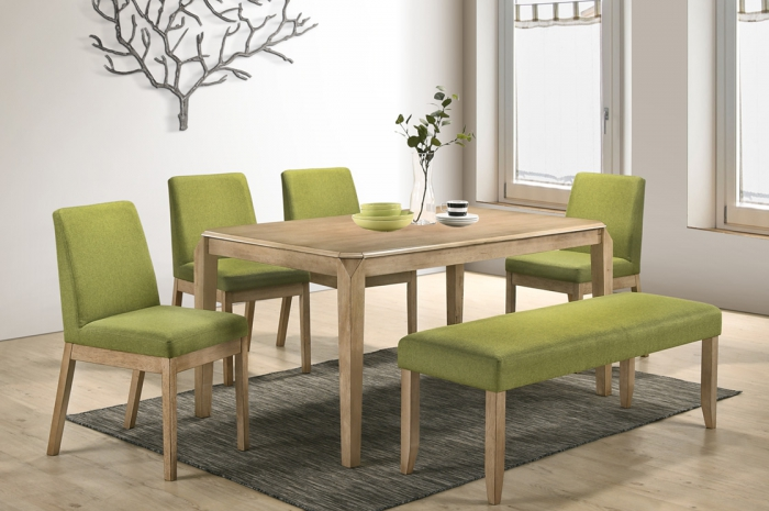 Tom 1+4+1Dining Set Kasia Table 900 x 1500mm - Dining Set - Golden Tech Furniture Industries Sdn Bhd