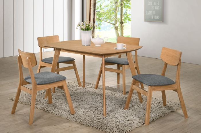 Vico 1+4 Yutu Table 800 x 1200mm Beech - Dining Set - Golden Tech Furniture Industries Sdn Bhd