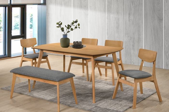 Vico 1+4+1 Yutu Table 900 x 1500 - Dining Set - Golden Tech Furniture Industries Sdn Bhd