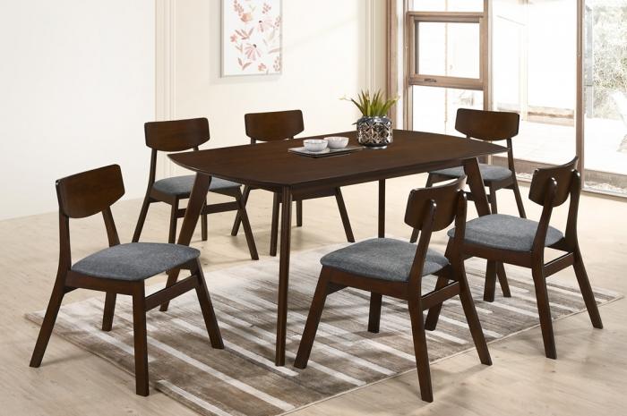 Vico 1+6 Yutu Table 900 x 1500mm Oak - Dining Set - Golden Tech Furniture Industries Sdn Bhd