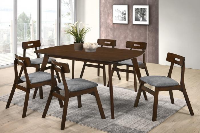 Vini 1+6 Yutu Table 900 x 1500 - Dining Set - Golden Tech Furniture Industries Sdn Bhd
