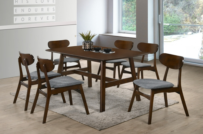 Vinter 1+6 Nava Table 900 x 1500mm Oak - Dining Set - Golden Tech Furniture Industries Sdn Bhd